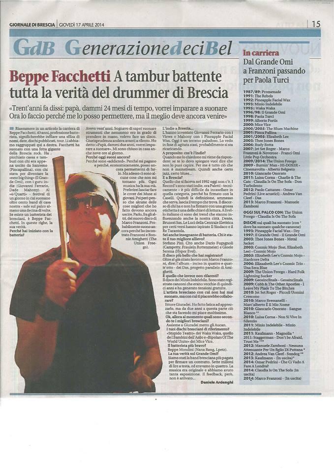 Beppe Facchetti: articolo del GdB sullo spazio di Generazione Decibel
